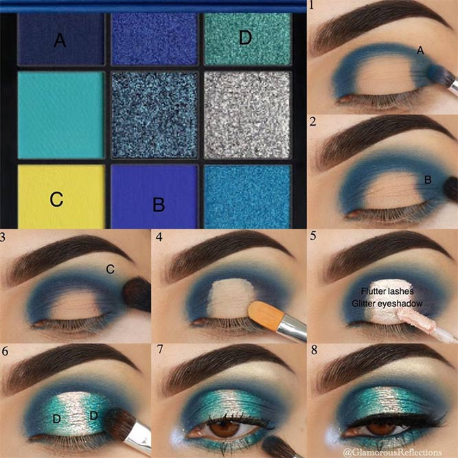 Bright Color Eyeshadow Makeup Tutorial #blueglittershadow #makeuptutorial