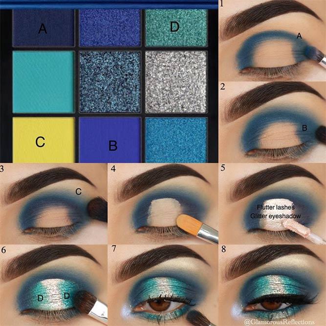 Bright Color Eyeshadow Makeup Tutorial #blueglittershadow #makeuptutorial