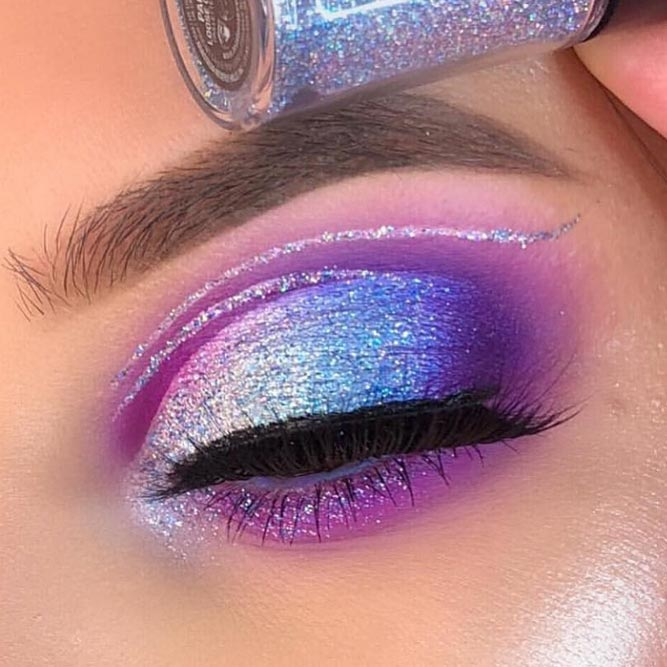 Blue And Purple Glitter Shadow Makeup #glittershadow