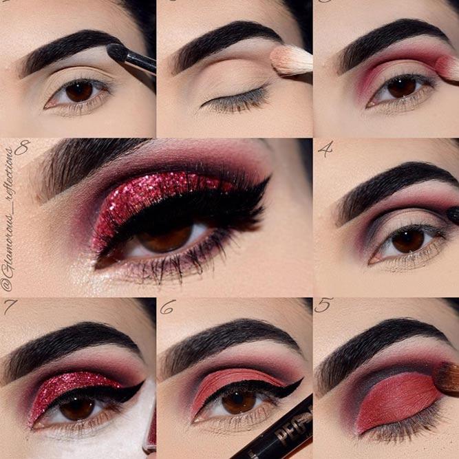 Glitter Eyes Tutorial For Festive Look #glittereyes