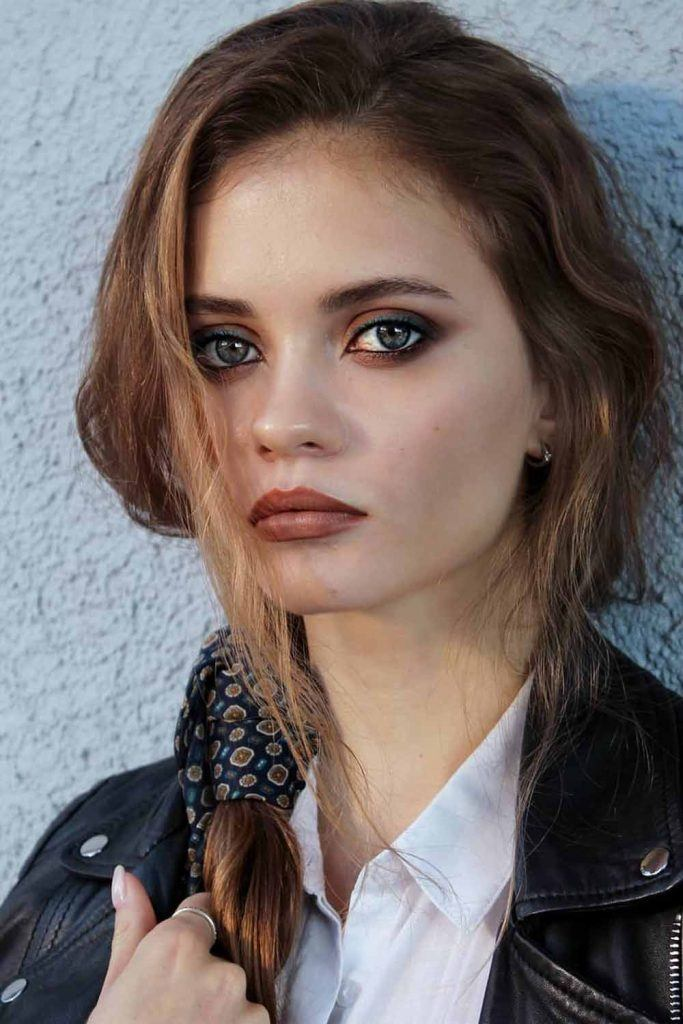 Makeup Idea With Brown Lipstick And Matte Smokey #greeneyeliner