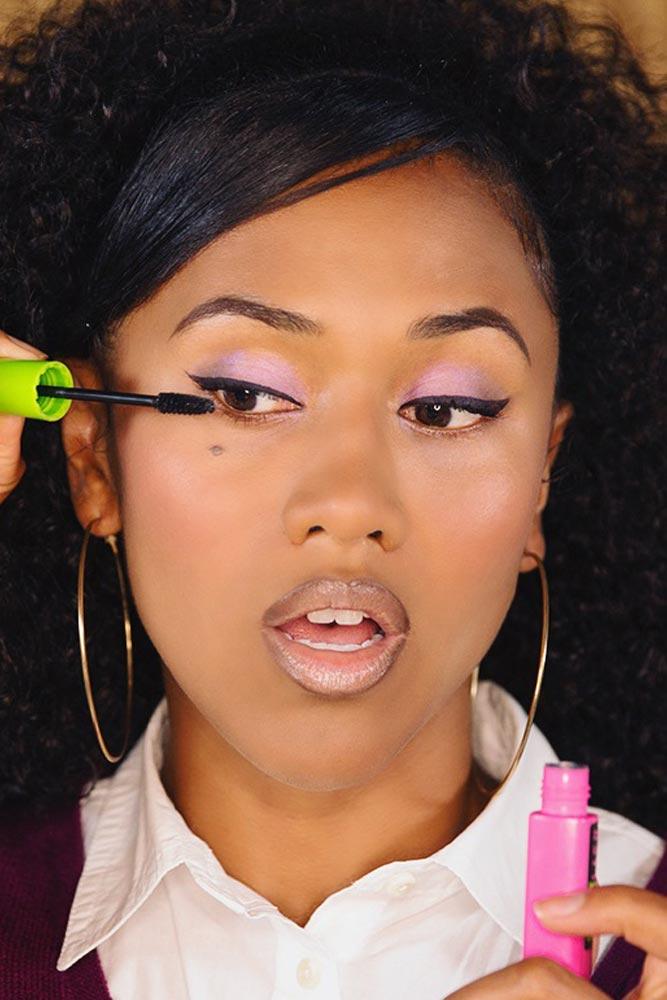 Color Shadow Makeup For Dark Skin #purpleshadow #darkskintone