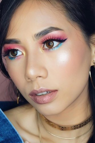 Pink And Blue Shadows For Bright Makeup #pinkshadow #nudelips