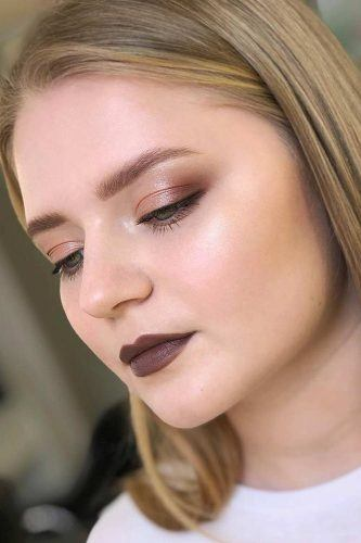 Bold Brown Lipstick With Shimmer Smokey Makeup Idea #shimmmersmokey