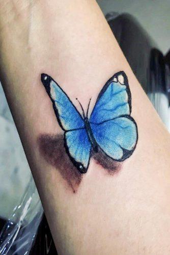 3d Butterfly Tattoo Design #3dtattoo #bluebutterflytattoo