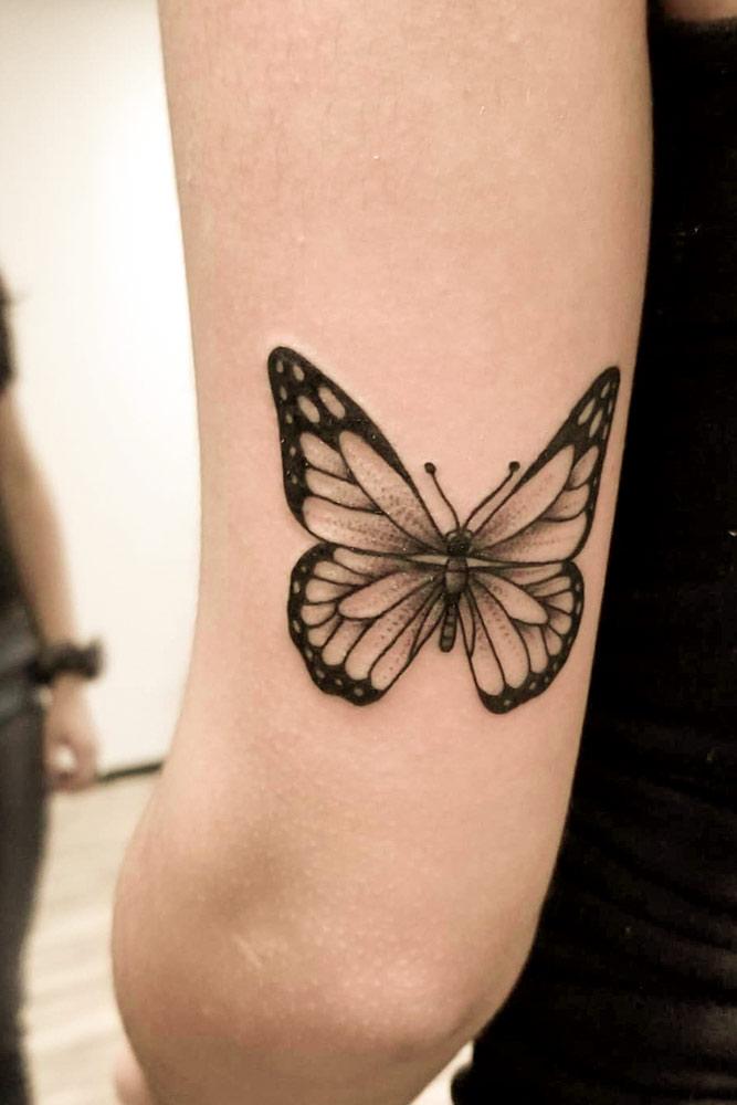 Black And White Butterfly Tattoo #blacandwhitetattoo