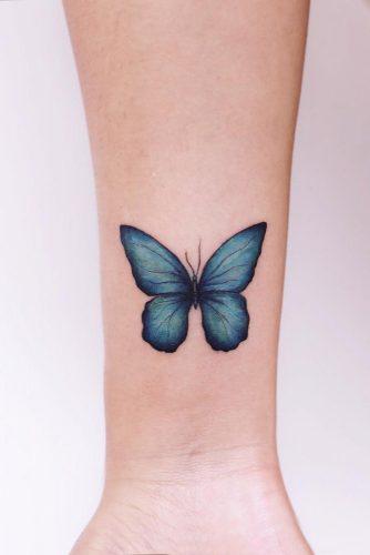Blue Butterfly Tattoo On Arm #bluebutterflytattoo #bluebutterfly