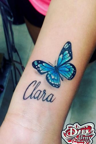 Butterfly Tattoos With Names #nametattoo #bluebutterflytattoo