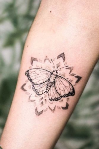 Butterfly Tattoo With Dotwork Elements #armtattoo