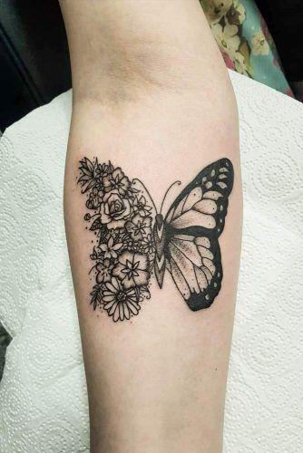 Half Floral Buttefly Tattoo Design #halfforaltattoo