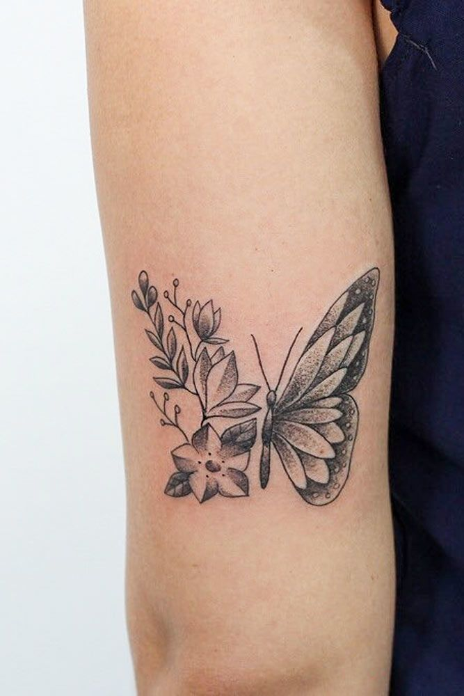 Buttefly Tattoo With Flowers #flowers