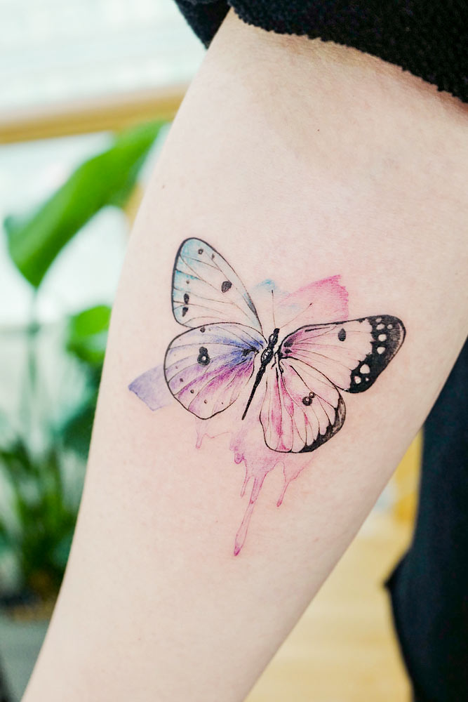 Watercolor Butterfly Arm Tattoo Design #watercolortattoo