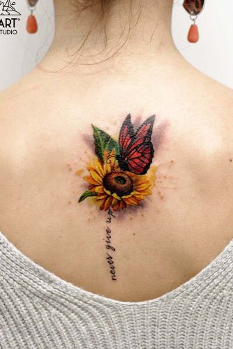 Colorful Butterfly Tattoos On Back #flowertattoo #colorfultattoo