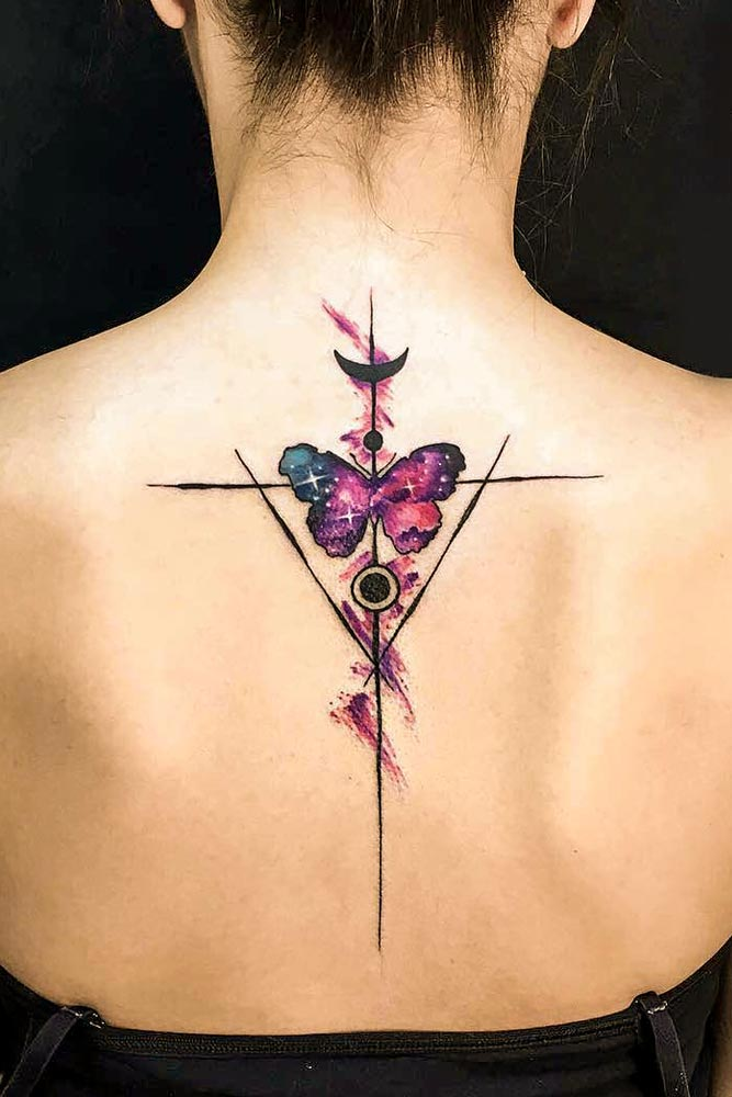 Watercolor Butterfly Tattoo #watercolortattoo #galaxytattoo