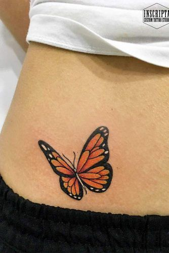 Colorful Butterfly Tattoo For Belly #bellytattoo