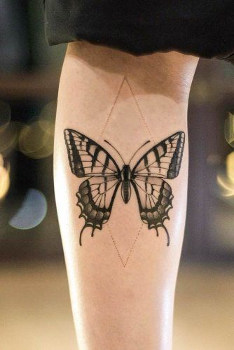 Butterfly Tattoo With Geometric Element #geometric