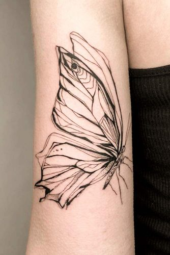 Outline Butterfly Tattoo #outlinetattoo