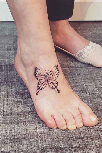 Buttefly Tattoo Idea For Foot #foottattoo