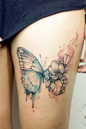 Butterfly And Flower Tattoos #flowertattoo