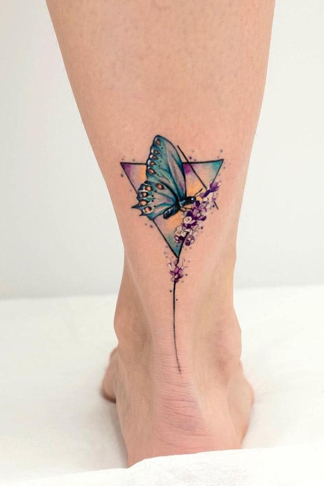 Geometric Butterfly Leg Tattoos #geometrictattoo