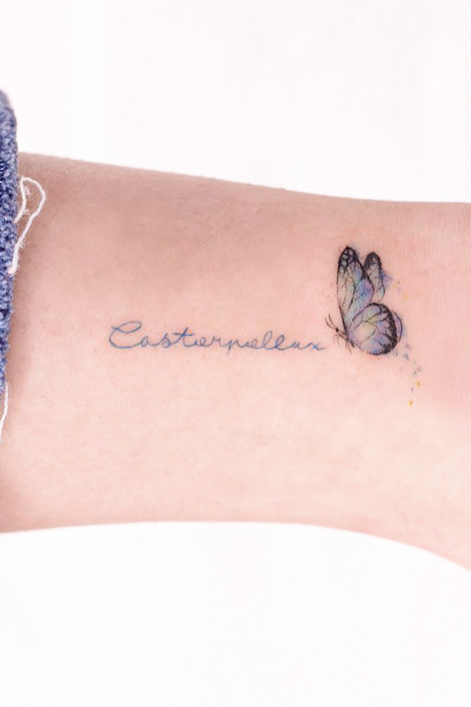 Butterfly With Lettering #lettering #tinytattoo