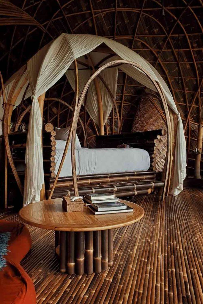 Wooden Bed Design With Bamboo Canopy #bamboocanopy