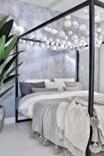 Metal Canopy Bed With Ball Lights #balllights #metalliccanopy