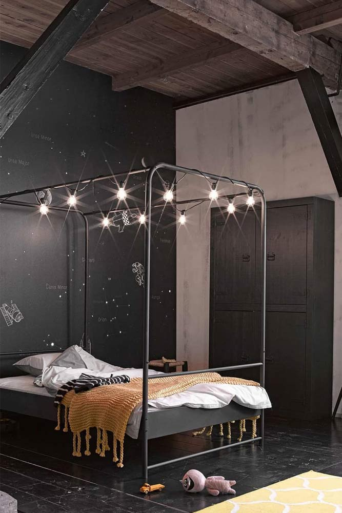 Black Canopy Bed With Lights #stringlights #minimalisticbedroom