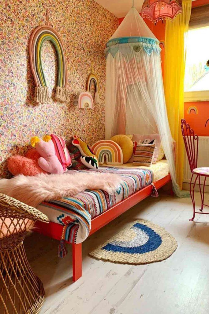 Kids Bedroom With Canopy Bed In Bohemian Style #rainbowwalldecor
