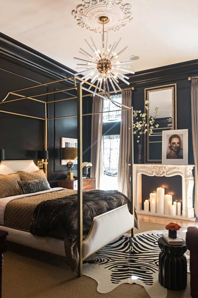Metallic Gold Canopy Bed Design #goldcanopy #glambedroom