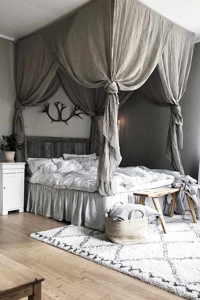 Wooden Canopy Bed With Curtains For Boho Bedroom #bohobedroom #curtains