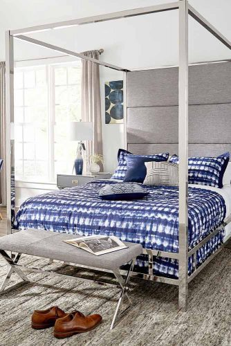 Canopy Bed With Mirror For Bedroom In Blue Colors #modernbedroom #bluecolors