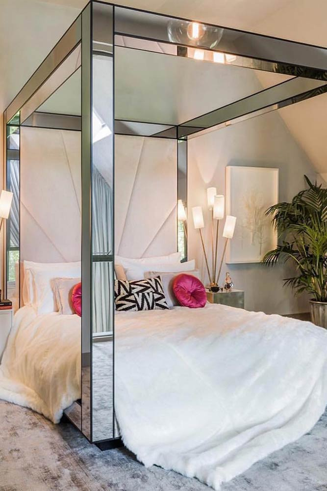 Mirror Canopy Bed For Modern Bedroom #mirrorcanopy