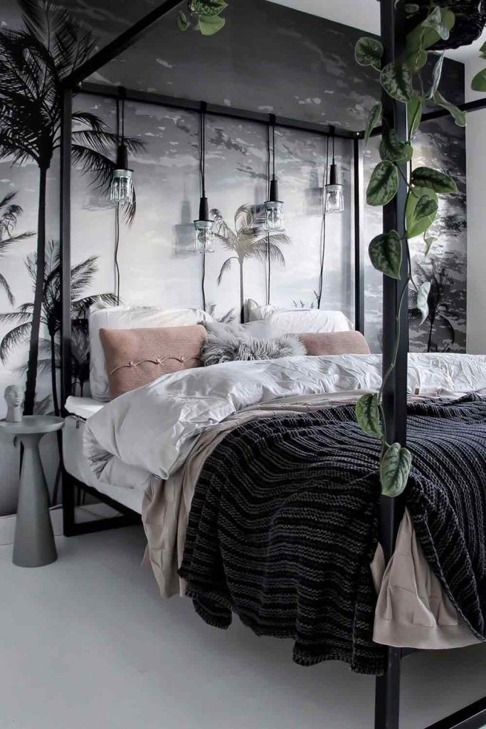 Modern Metallic Canopy Bed With String Lights And Plants Décor #stringlights