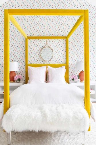 Wood Canopy Bed In Yellow Color #woodcanopy #yellowcanopy