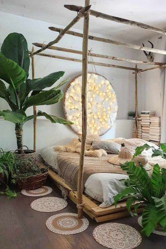 Boho Bedroom Design With Rustic Bed #plants