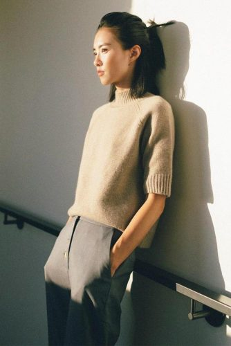 Sand Colored Cashmere Sweater With Short Sleeves #sandsweater #shortsleeves