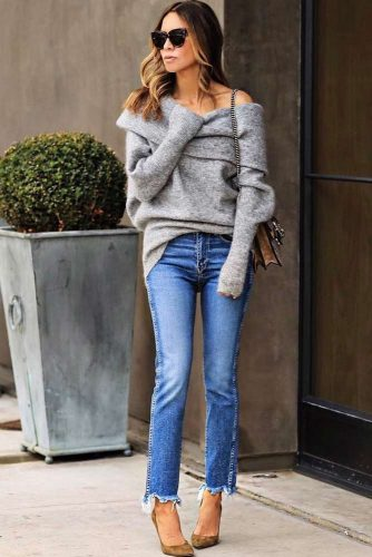 Grey Cozy Shoulder Off Sweater #shoulderoff #cozysweater