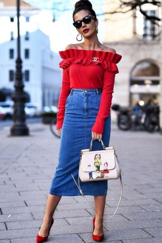 Red Shoulder Off Sweater #redsweater #shoulderoff