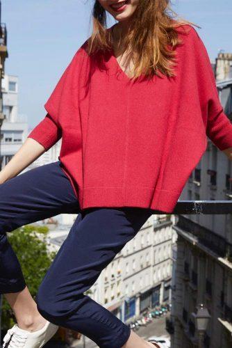 V Neck Oversize Sweater #oversizesweater #redsweater