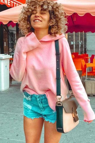 Oversized Pink Sweater With Hood #pinksweater #hood