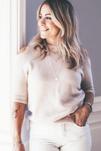 Shoulder Off Cashmere Sweater With Short Sleeves #shortsleeves #offshoulder