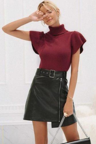 Burgundy Short Sleeve Cashmere Sweater #burgundysweater #shortsleeves