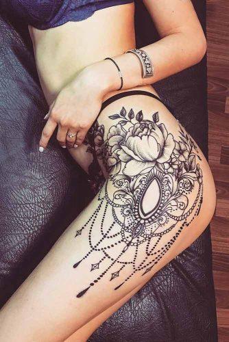 Thigh Mandala Peony Tattoo Design #thightattoo #peonytattoo