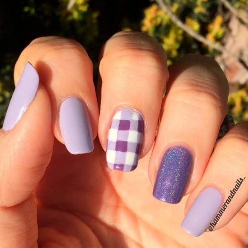 Sweet Lilac Nail Art #lilacnails #squovalnails