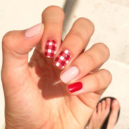 Glossy Red Pattern With Nude Accents #nudenails #rednails