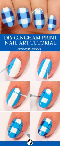 Classical Gingham Print Nail Art Tutorial #nailarttutorial #easynaildesign