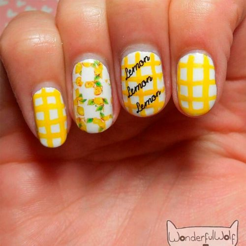 Bright Lemon Yellow Nails  #yellownails #shortnails