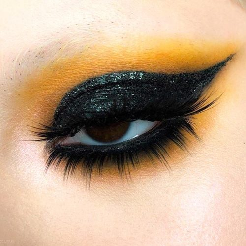 Goth Eye Makeup With Black Shadow #blackshadow #glitter