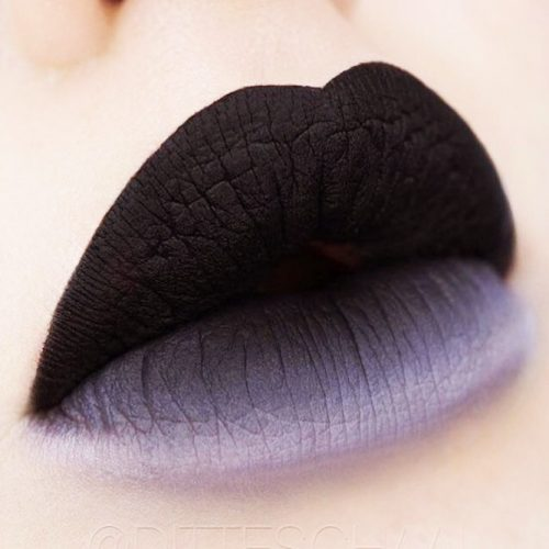 Black White Lips Ombre For Goth Makeup #ombrelips #lipsmakeup